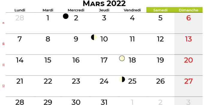 calendrier mars 2022 québec canada