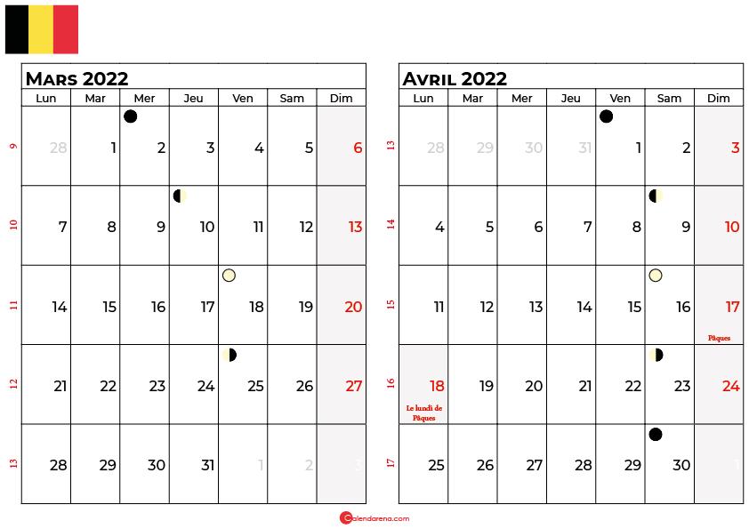 calendrier mars et avril 2022 belgique