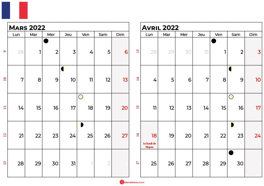 calendrier mars et avril 2022 france
