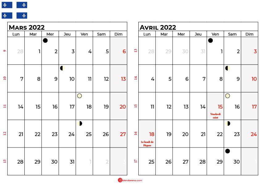 calendrier mars et avril 2022 québec canada