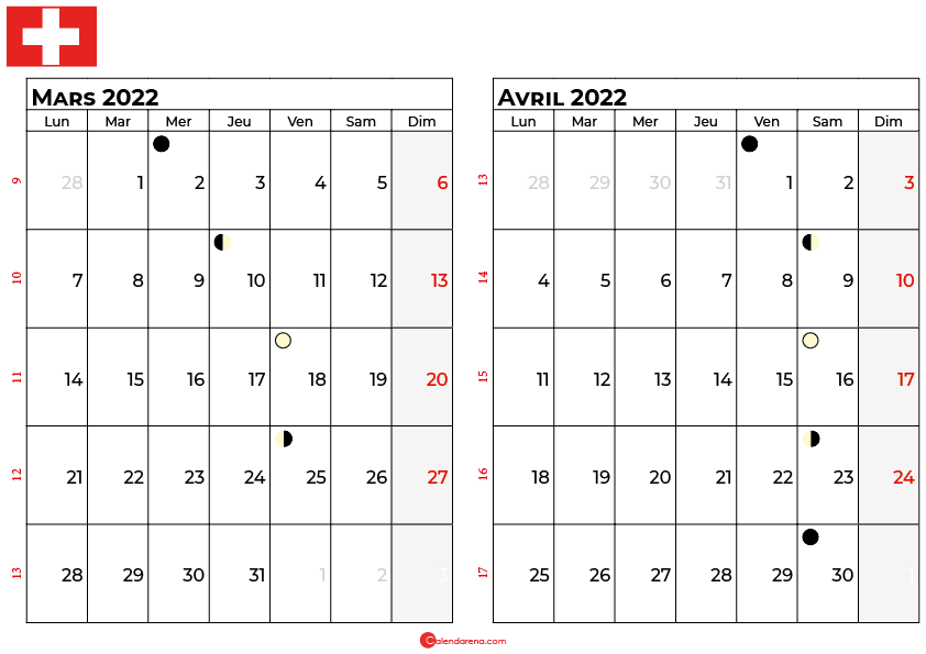 calendrier mars et avril 2022 suisse