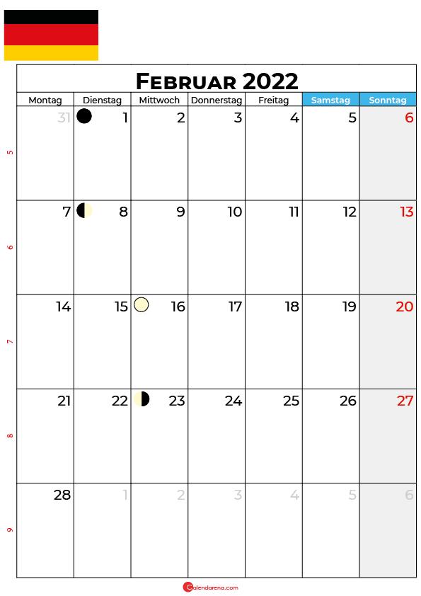 februar 2022 kalender Deutschland
