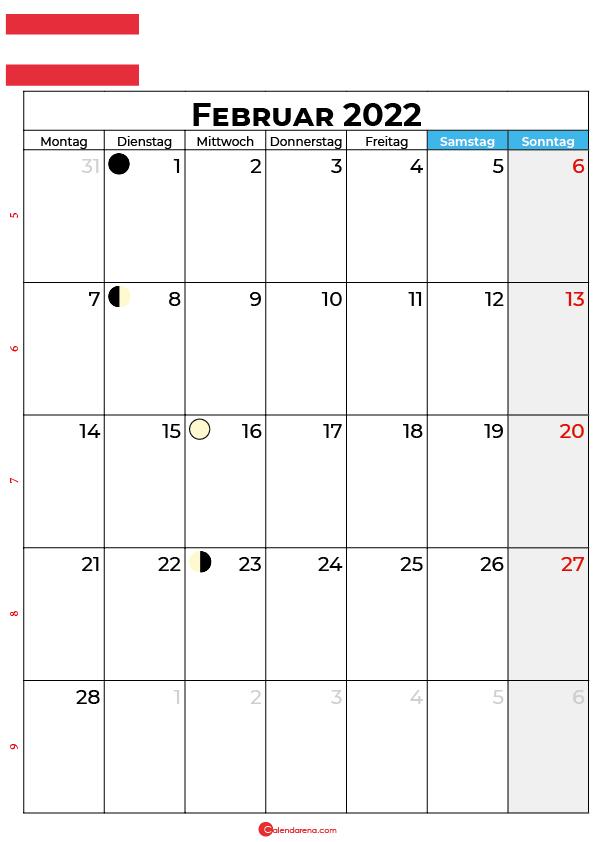 februar 2022 kalender Österreich