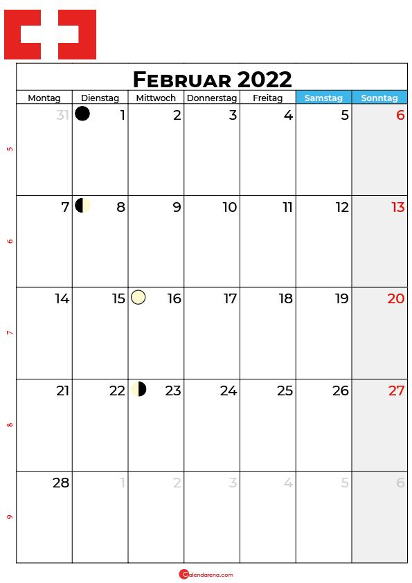 februar 2022 kalender Schweiz
