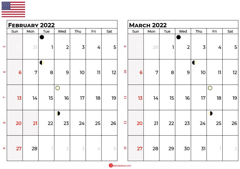 february and march 2022 calendar usa