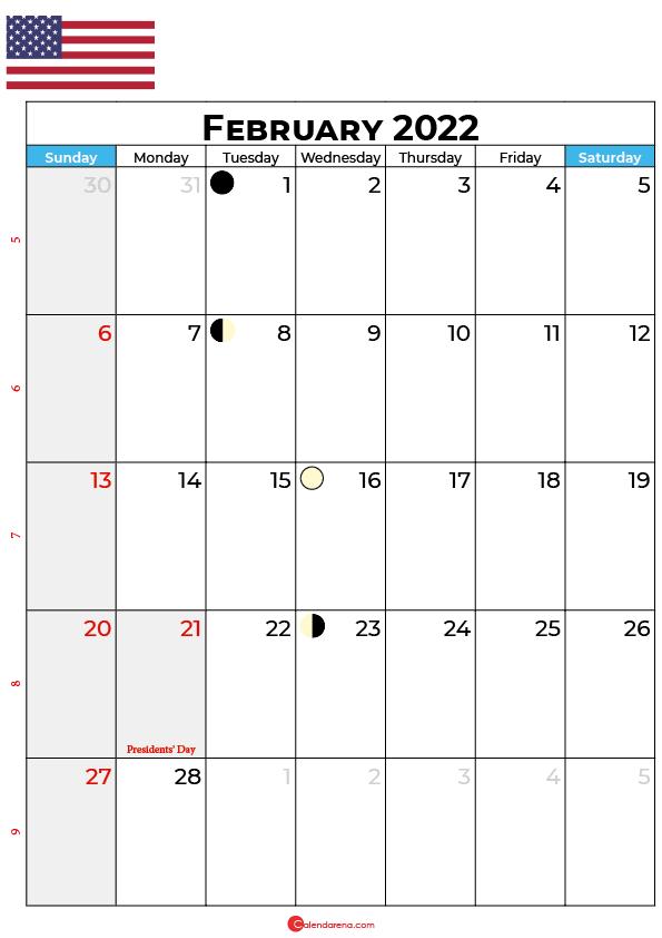 february calendar 2022 united states