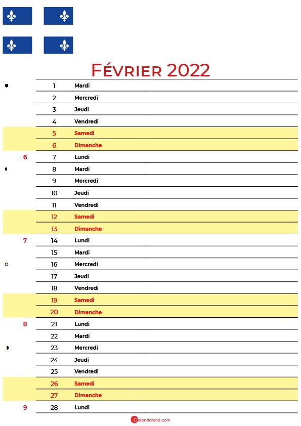 février 2022 calendrier québec canada