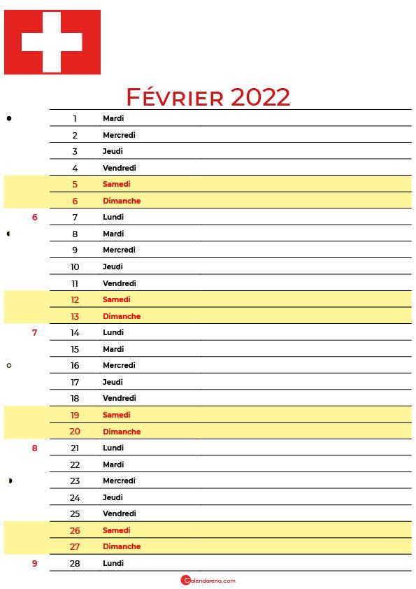 février 2022 calendrier suisse