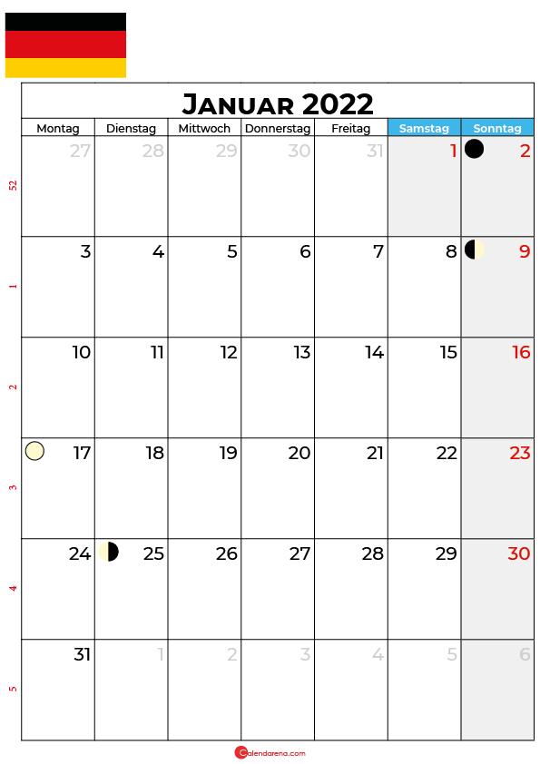 januar 2022 kalender Deutschland
