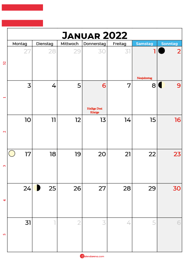 januar 2022 kalender Österreich