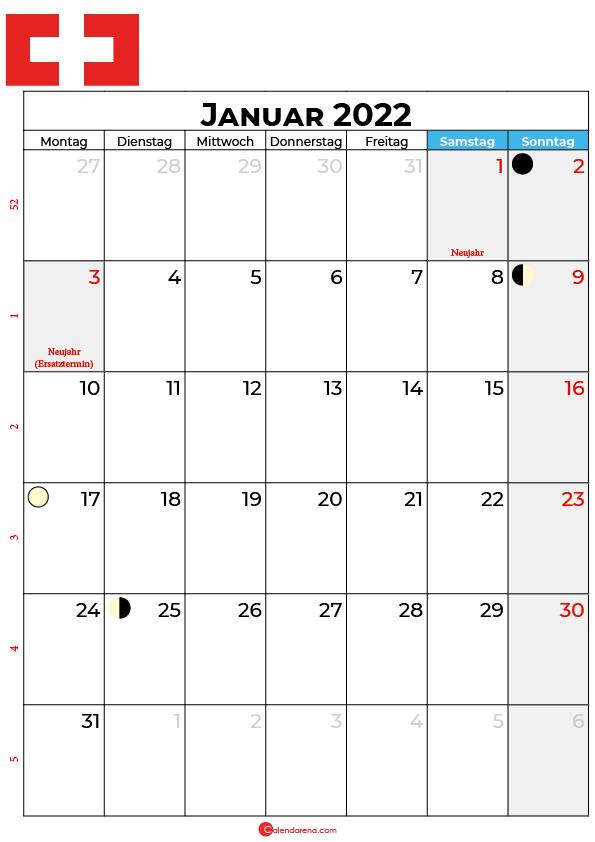 januar 2022 kalender Schweiz