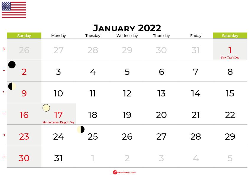 january 2022 calendar united states
