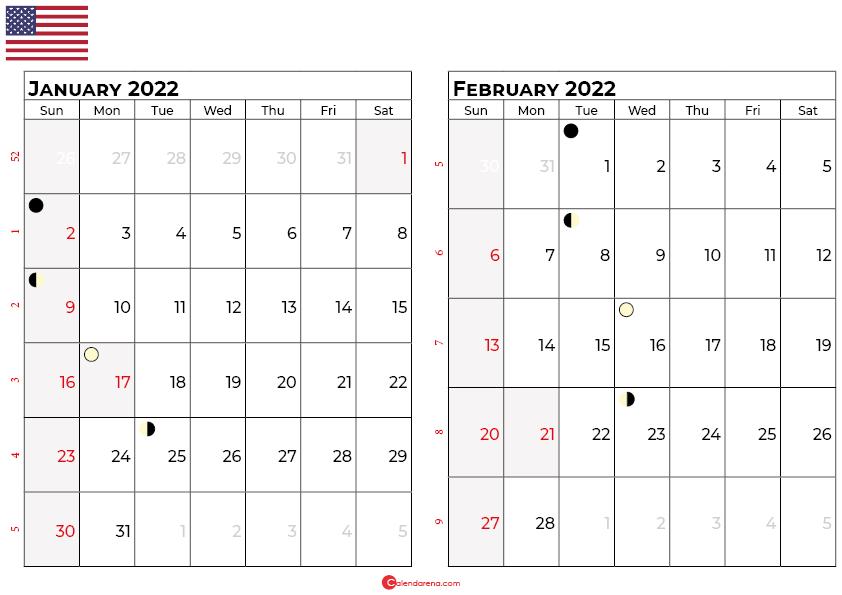 january and february 2022 calendar usa