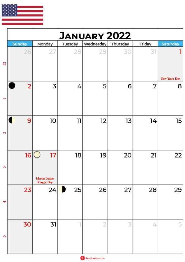 january calendar 2022 united states