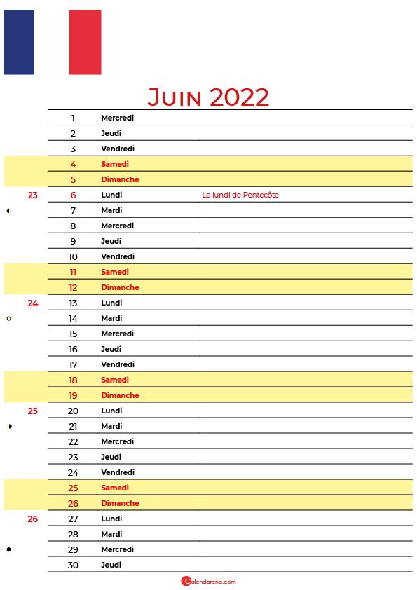 juin 2022 calendrier france