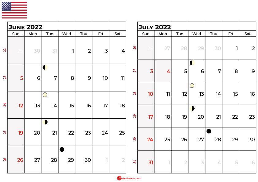 june and july 2022 calendar usa