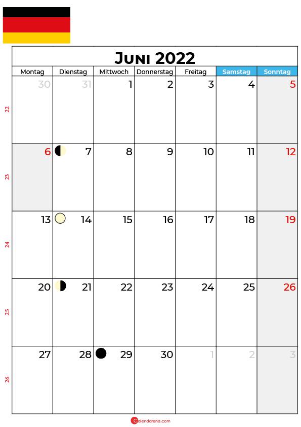 juni 2022 kalender Deutschland