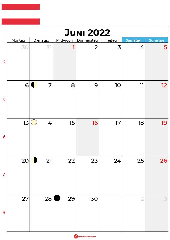 juni 2022 kalender Österreich