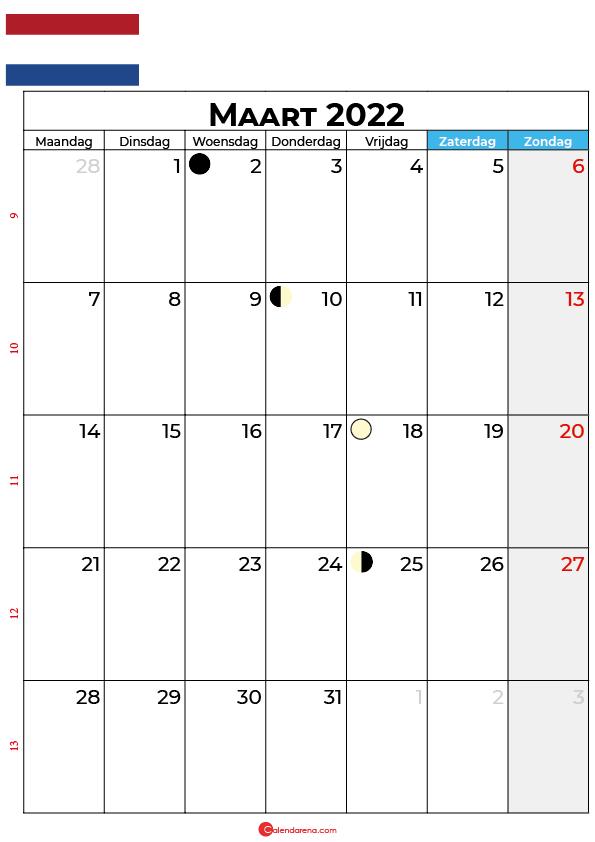 kalender 2022 Maart Nederland