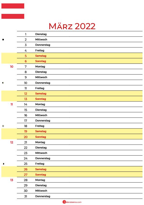 kalender 2022 März Österreich