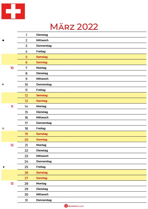kalender 2022 März Schweiz