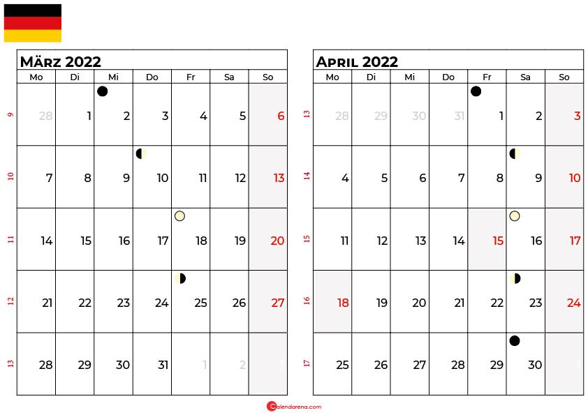 kalender 2022 März april Deutschland