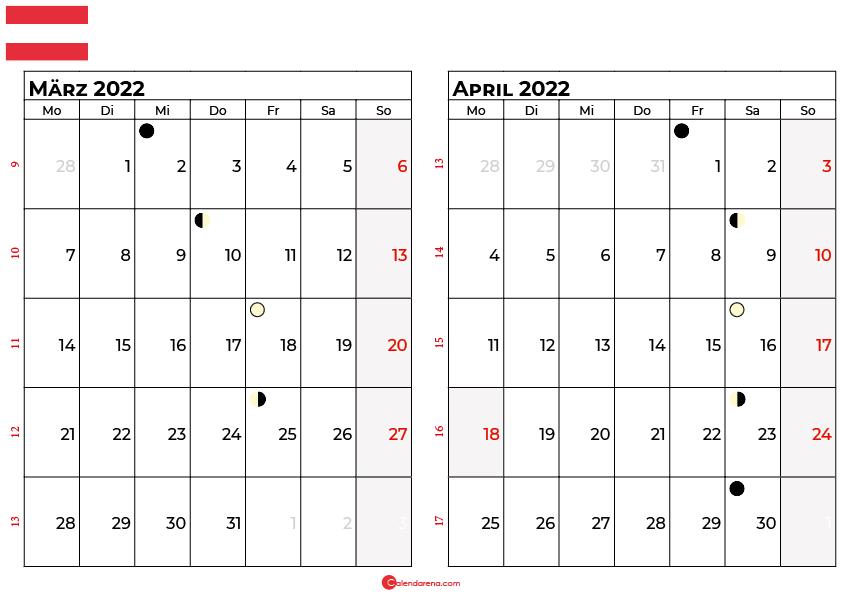 kalender 2022 März april Österreich