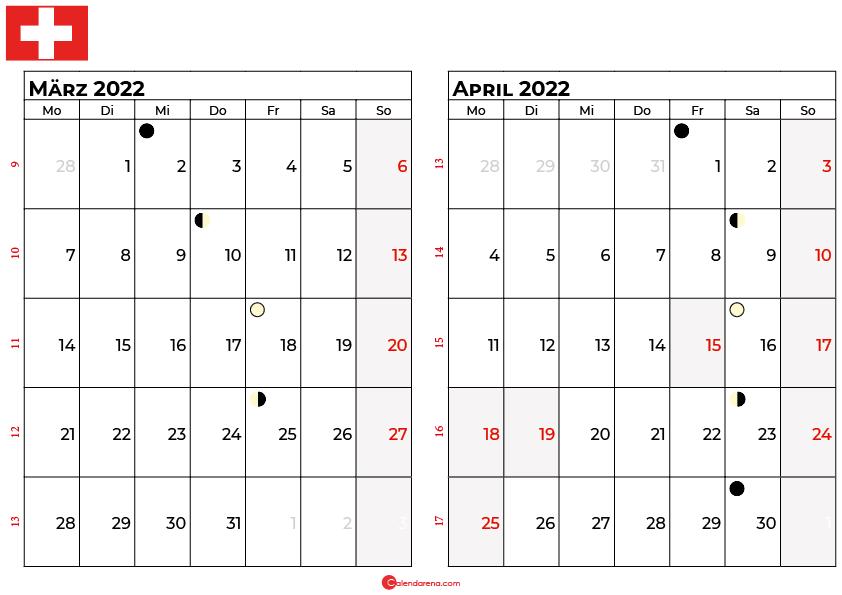 kalender 2022 März april Schweiz