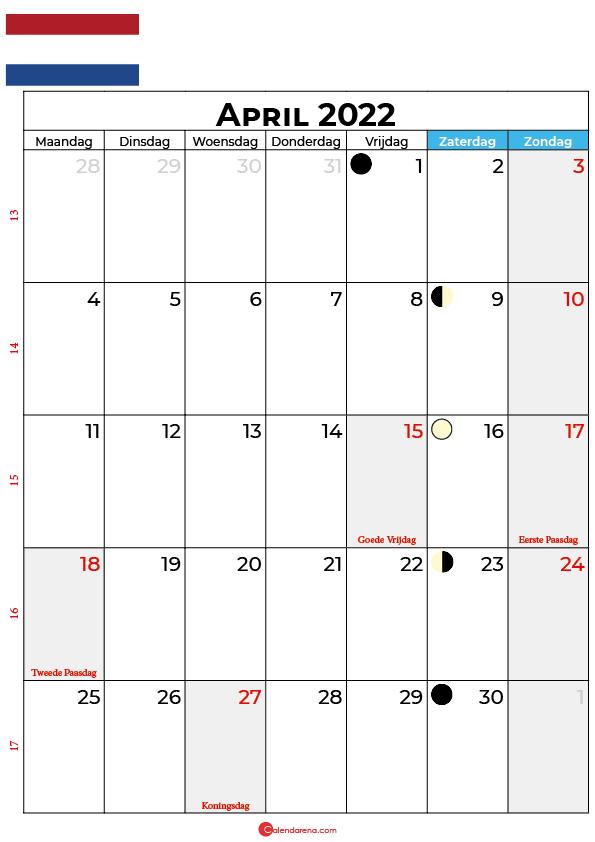 kalender 2022 april Nederland