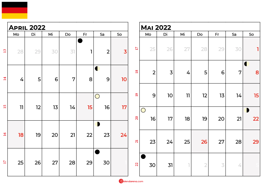 kalender 2022 april mai Deutschland