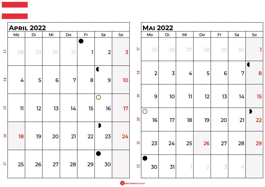 kalender 2022 april mai Österreich