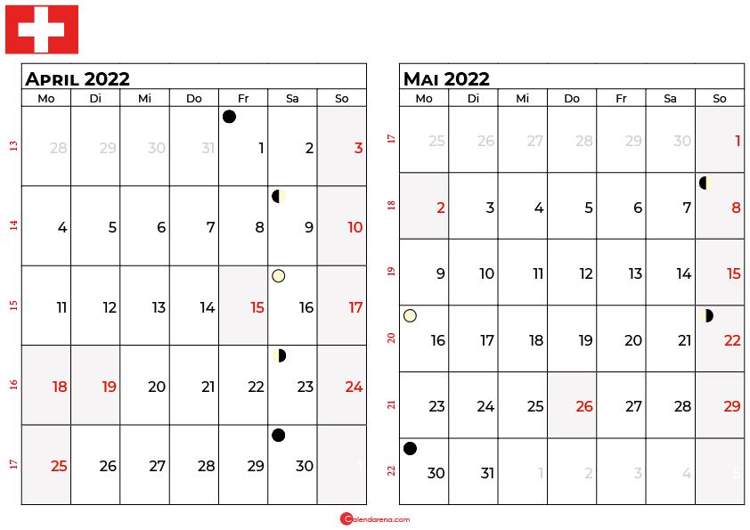 kalender 2022 april mai Schweiz