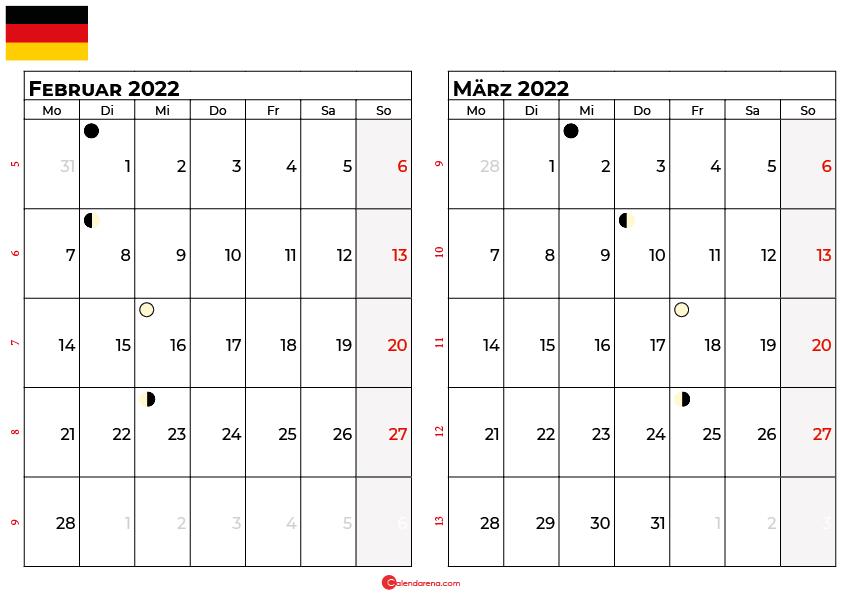 kalender 2022 februar März Deutschland