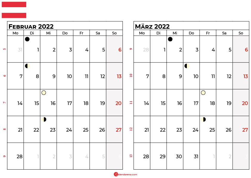 kalender 2022 februar März Österreich