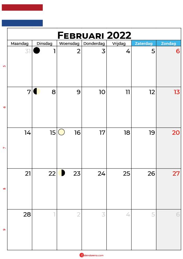 kalender 2022 februari Nederland