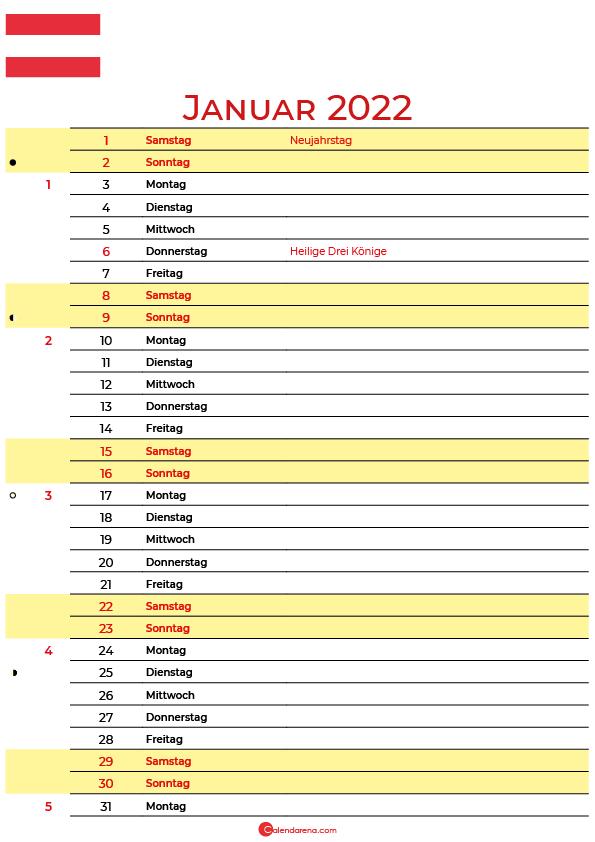 kalender 2022 januar Österreich