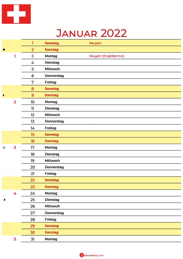 kalender 2022 januar Schweiz