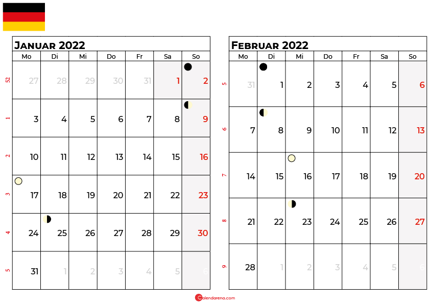 kalender 2022 januar februar Deutschland