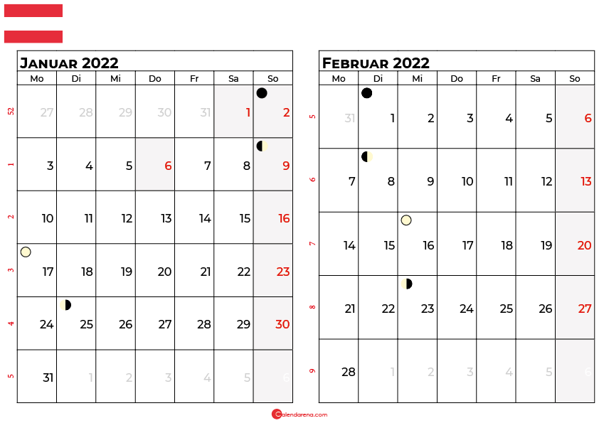 kalender 2022 januar februar Österreich