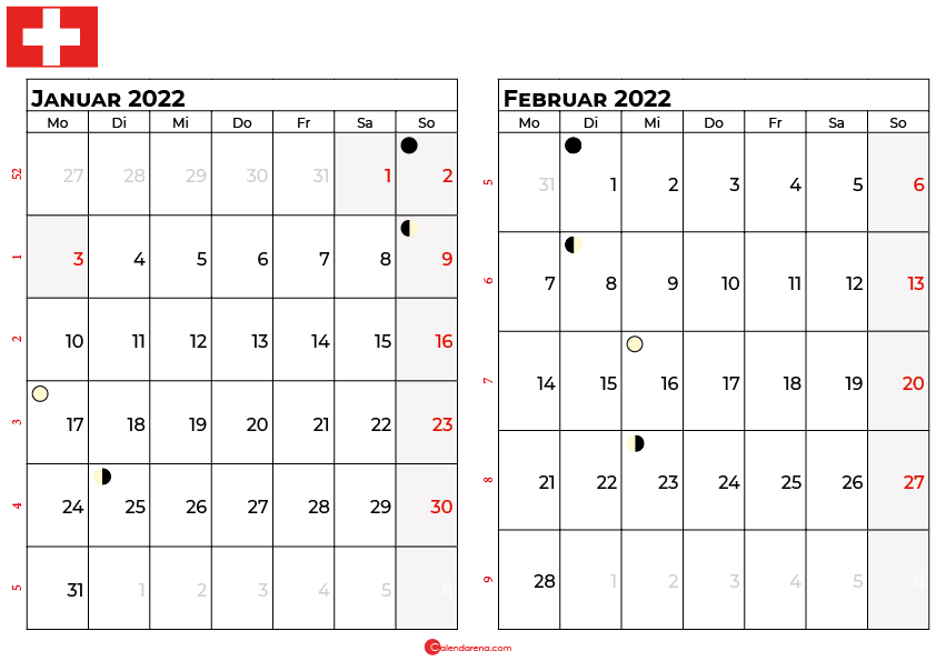 kalender 2022 januar februar Schweiz