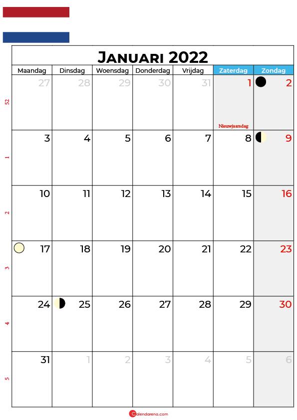 kalender 2022 januari Nederland