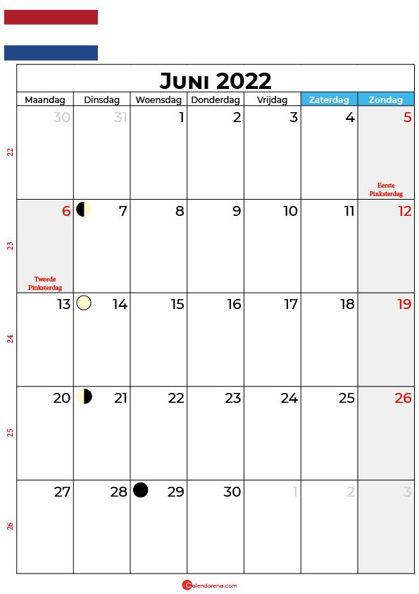 kalender 2022 juni Nederland