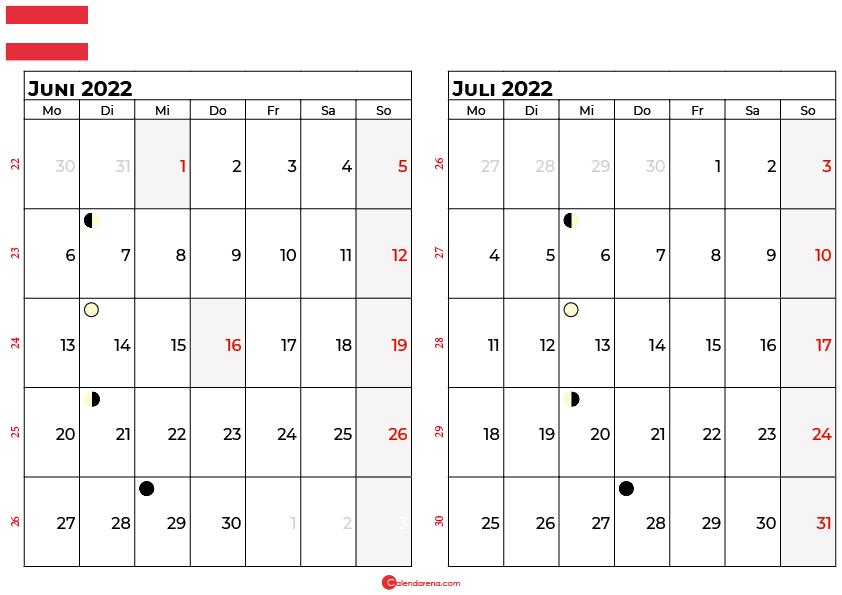 kalender 2022 juni juli Österreich