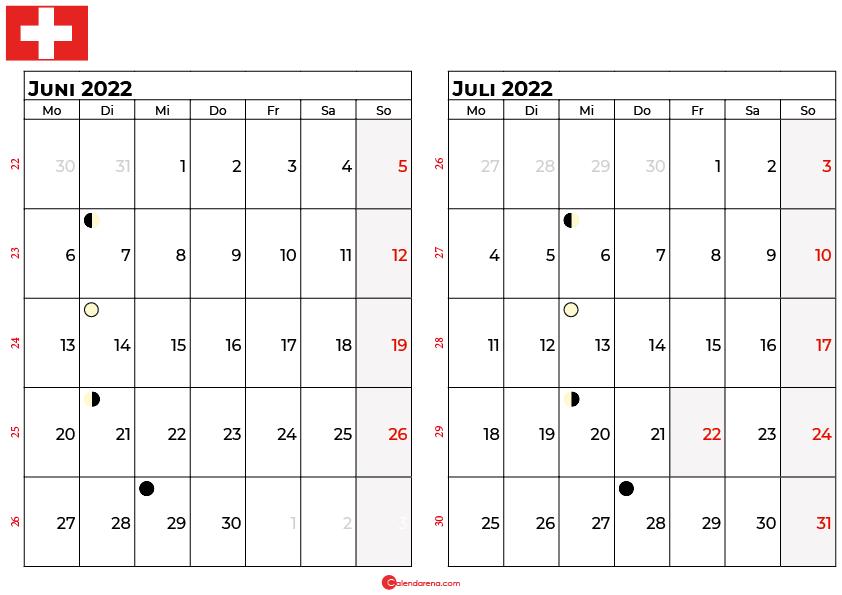kalender 2022 juni juli Schweiz