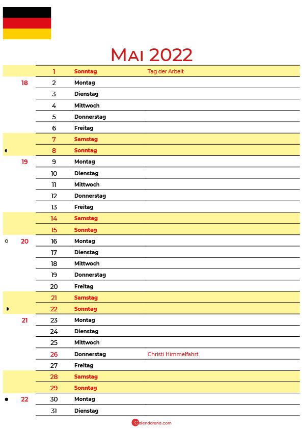 kalender 2022 mai Deutschland