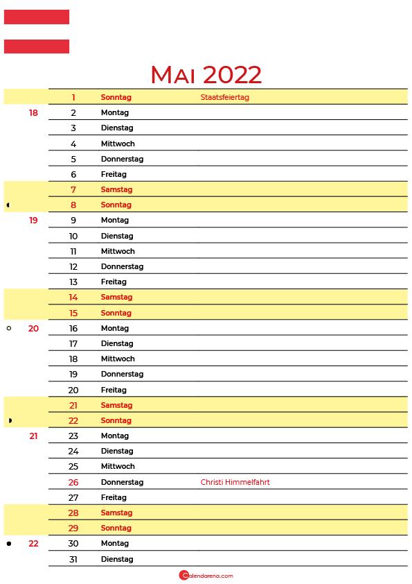 kalender 2022 mai Österreich