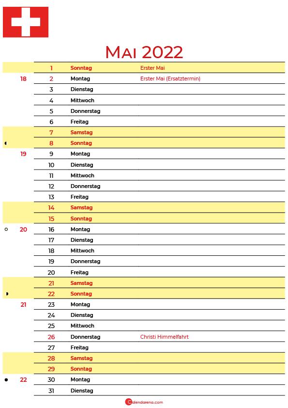 kalender 2022 mai Schweiz