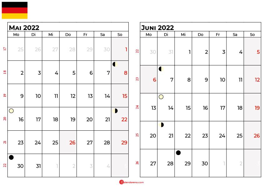 kalender 2022 mai juni Deutschland