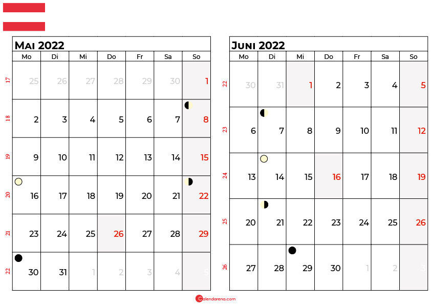 kalender 2022 mai juni Österreich