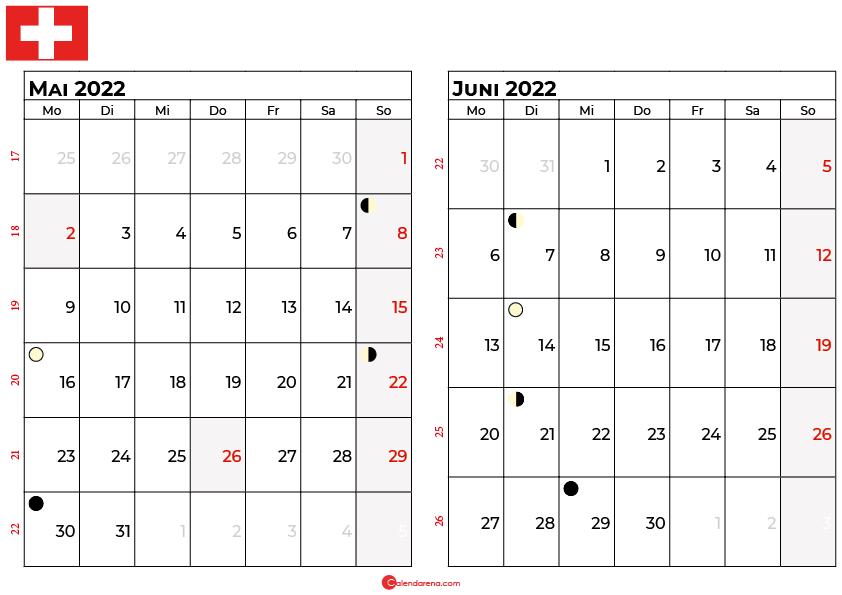 kalender 2022 mai juni Schweiz
